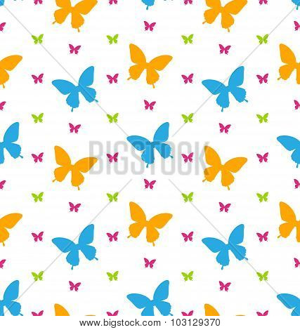 Seamless Pattern with Colorful Butterflies, Repeating Backdrop