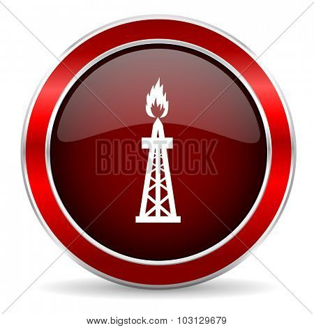 gas red circle glossy web icon, round button with metallic border