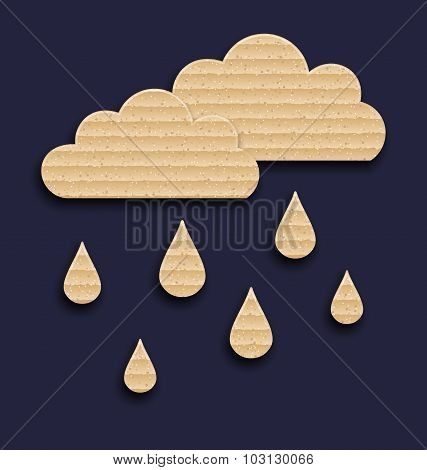 Paper clouds with rain drops, carton texture