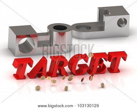 Target - Inscription Of Red Letters And Silver Details
