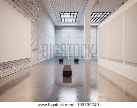 Mockup of gallery interior with brown bench and bricks. 3d render