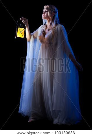 Young elven girl with lantern isolated