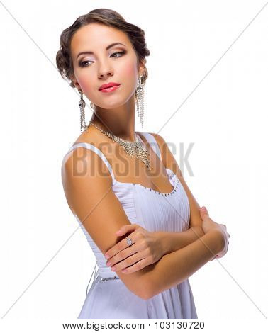 Young girl in wedding dress isolated
