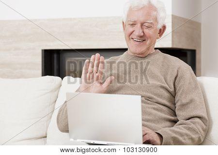 Old Man Using Laptop
