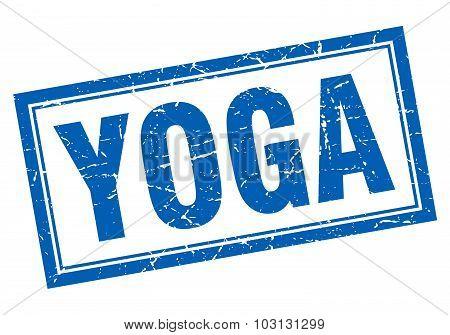 Yoga Blue Square Grunge Stamp On White