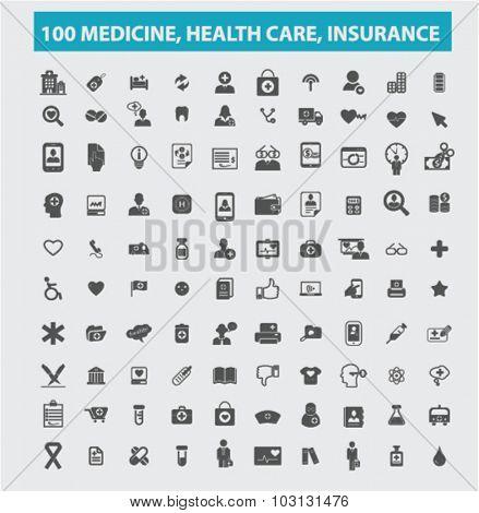 100 medicine, insurance, healthcare icons