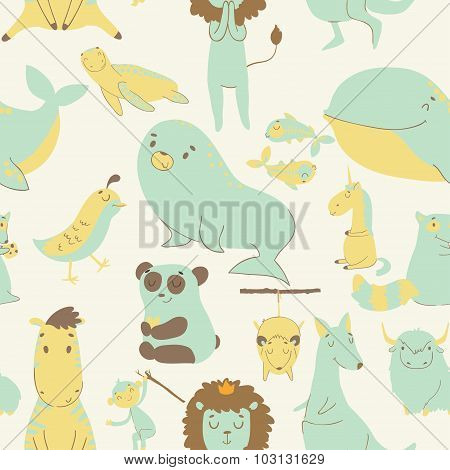 Childish seamless pattern with animals