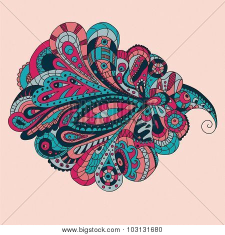 Doodle tail. Abstract vector. Vector ornamental border frame. Can be used for Xmas banner, cards, we