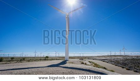 Wind turbine against sun and windmill farm
