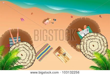 Realistic Summer Beach Of Sea Side