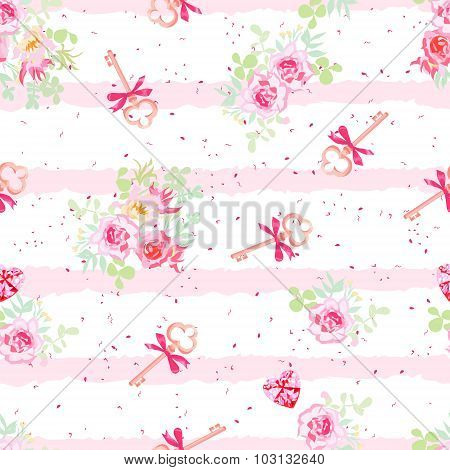 Delicate Flowers And Old Keys With Bows Seamless Vector Pattern