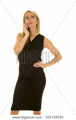 Blond Woman Black Business Dress List On Phone Look Up