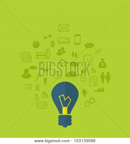 Concept of business idea with different infographic icons, flat