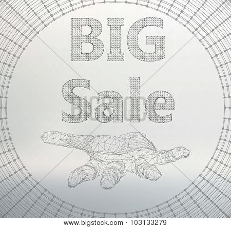 Vector illustration of big sale. Molecular lattice. Structural mesh of polygons on a white backgroun