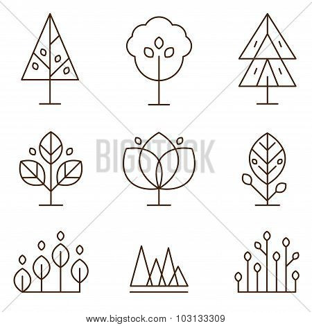 Plants and Trees Icons Set Linear Style