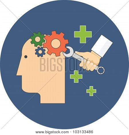Psychology, Psychotherapy, Mental Healing Concept. Flat Design.