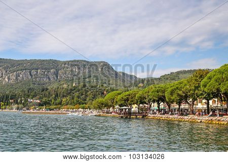 Lake Garda, Italy - 13 September 2014 : Restaurants and hotels along the Garda Lake  (Lago di Garda) in Italy. Lake Garda is the largest lake in Italy. The lake is located in north of Italy.