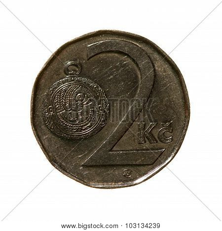 Two Czech Crowns Coin Isolated On White Background. Top View.