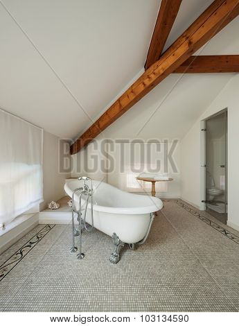 Interior of a mansion, luxury classic bathroom with  white tub
