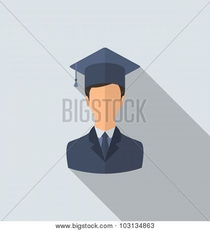Flat icon of male graduate in graduation hat, minimal style with