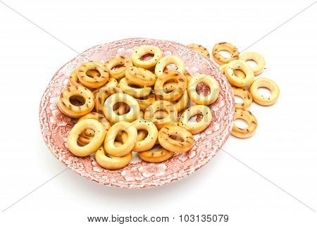 Bagels On Pink Plate
