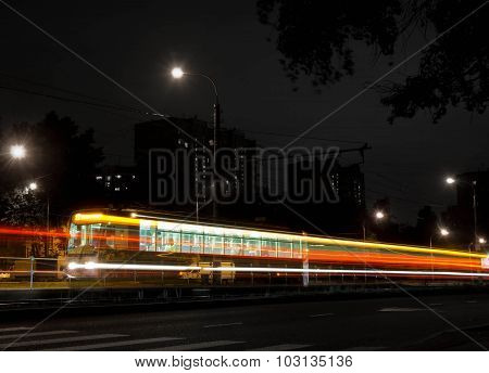 Tram And Crosswalk At Night, Black And White