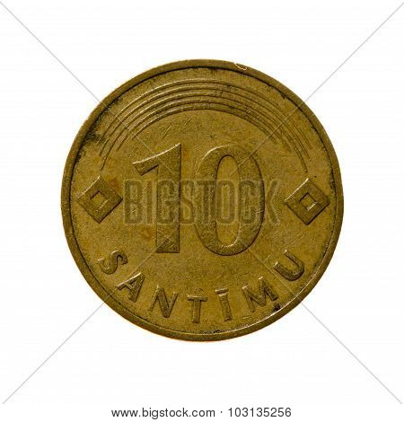 Coin Ten Centimes Latvia Isolated On White Background. Top View.