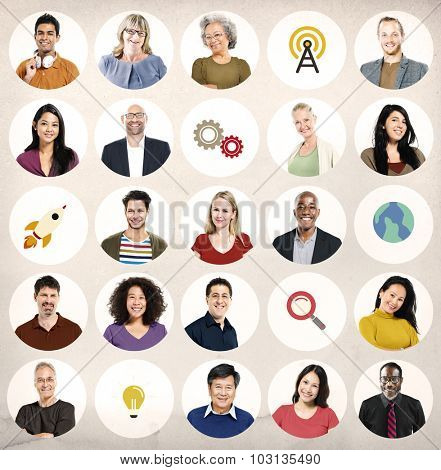 Diversity People Global Communication Wireless Technology Concept