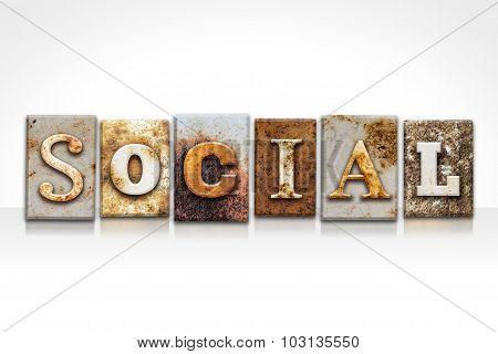 Social Letterpress Concept Isolated On White