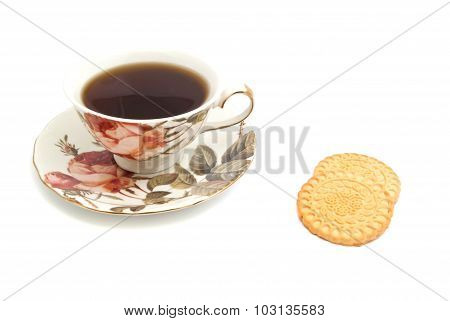 Mug Of Tea And Tasty Cookies