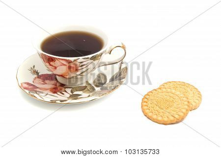 Mug Of Tea And Cookies