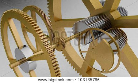 3d gear background to illustrate mechanic, engineering, industry and technology concepts