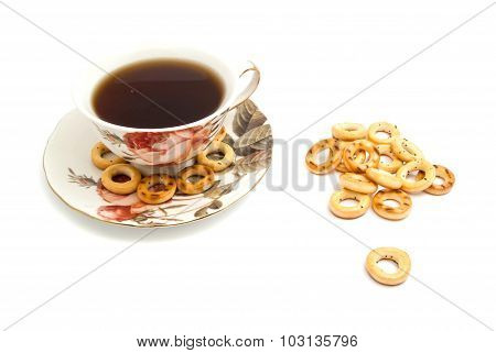 Many Bagels And Cup Of Tea