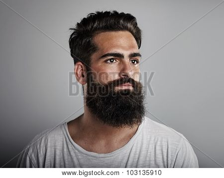 Portrait of long beard and mustache man