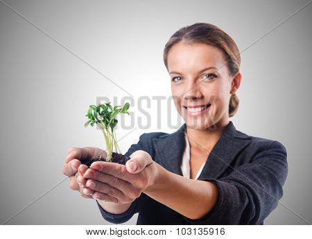 Businesswoman with seedling on white
