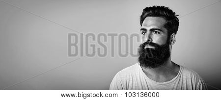 BW mock up of long beard and mustache man