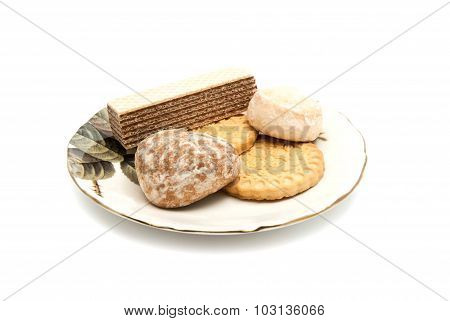 Wafer And Other Sweets On White