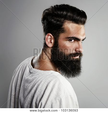Mock up of bearded man on the gray background