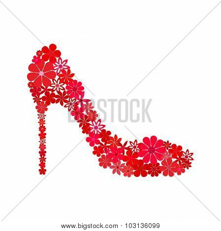Floral mosaic red shoe