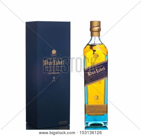 MIAMI, USA - March 14, 2015: Bottle of Johnnie Walker Blue Label.