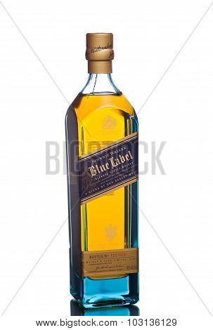 MIAMI, USA - March 24, 2015: Bottle of Johnnie Walker Blue Label.