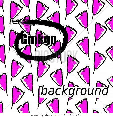 Ginkgo biloba pattern seamless.  Silhouette of ginkgo art splash leaves