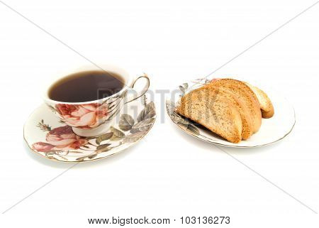 Crackers And Cup Of Tea On White