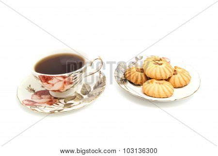 Mug Of Tea And Delicious Cookies
