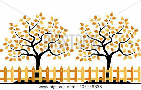 Autumn Trees Behind Fence Border