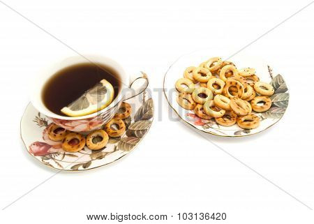 Bagels And Cup Of Tea With Lemon