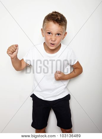 Mock up of young hooligan showing some angry emotion