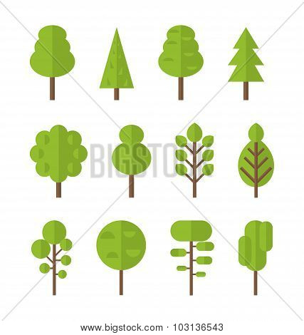 Collection set flat icons tree, garden bush