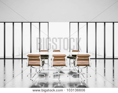 Modern office  with panoramic windows. 3d render