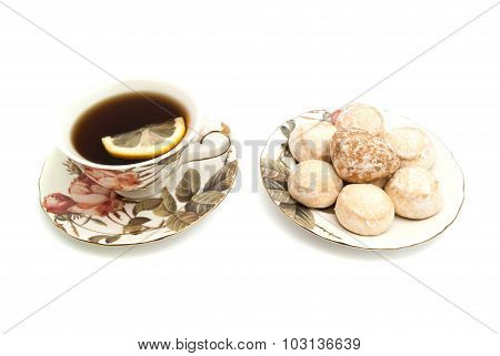Cup Of Tea With Lemon And Gingerbreads